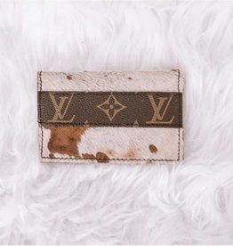 UPCYCLED LV Cowhide Card Holder Wallet-Speckled Cow