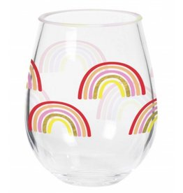 Rainbow Stemless Acrylic Wine Glass
