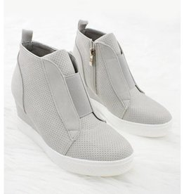 Chic Improvements Wedge Sneaker- Light Grey