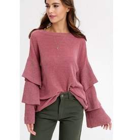 Slow Songs Layered Sleeves Pullover Sweater- Wine