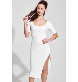 Ultraviolence Ribbed Short Sleeve Bodycon Dress - Off White
