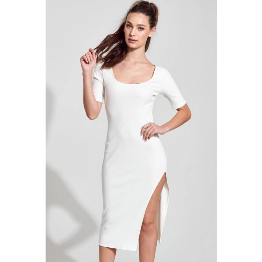 fcf58cc90e92 Ultraviolence Ribbed Short Sleeve Bodycon Dress - Off White - Cheeky ...