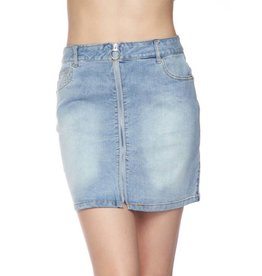 Complicated Love Washed Denim Skirt - Light Blue