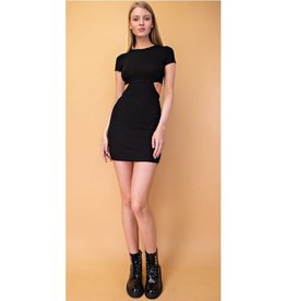 Only For The Wicked Cut Out Ribbed Bodycon Dress - Black