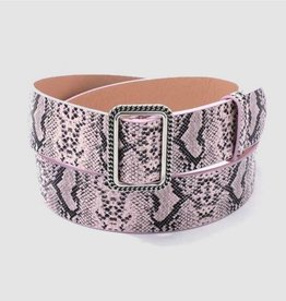 Been This Way Snake Pattern Leather Belt - Pink