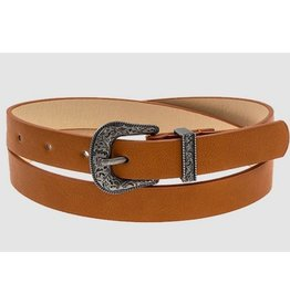 Call It Casual Thin Etched Ornate Belt - Brown