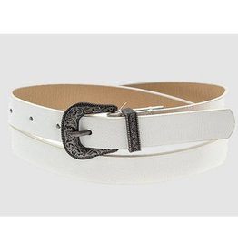 Call It Casual Thin Etched Ornate Belt - White