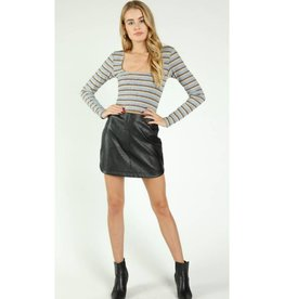 All The Good Memories Faux Leather Skirt - Black