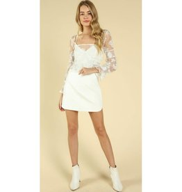 All The Good Memories Faux Leather Skirt - White