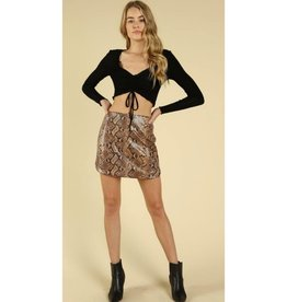 You're A Gem Snake Skin Round Hem Mini Skirt - Tan