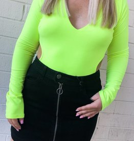Go With The Flow Cut Out Waist Long Sleeve Bodysuit - Neon Yellow