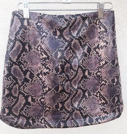 You're A Gem Snake Skin Round Hem Mini Skirt - Violet