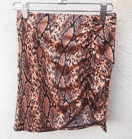 Make It Yours Neon Snake Print Ruched Mini Skirt - Orange