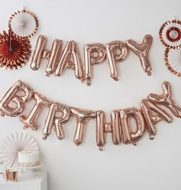 Happy Birthday Balloon Bunting - Rose Gold