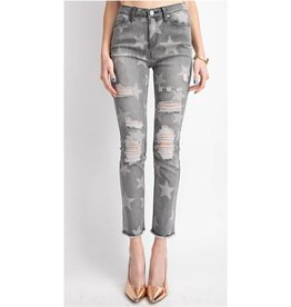 Let Me Be Your Star Distressed Washed Pants - Black Denim