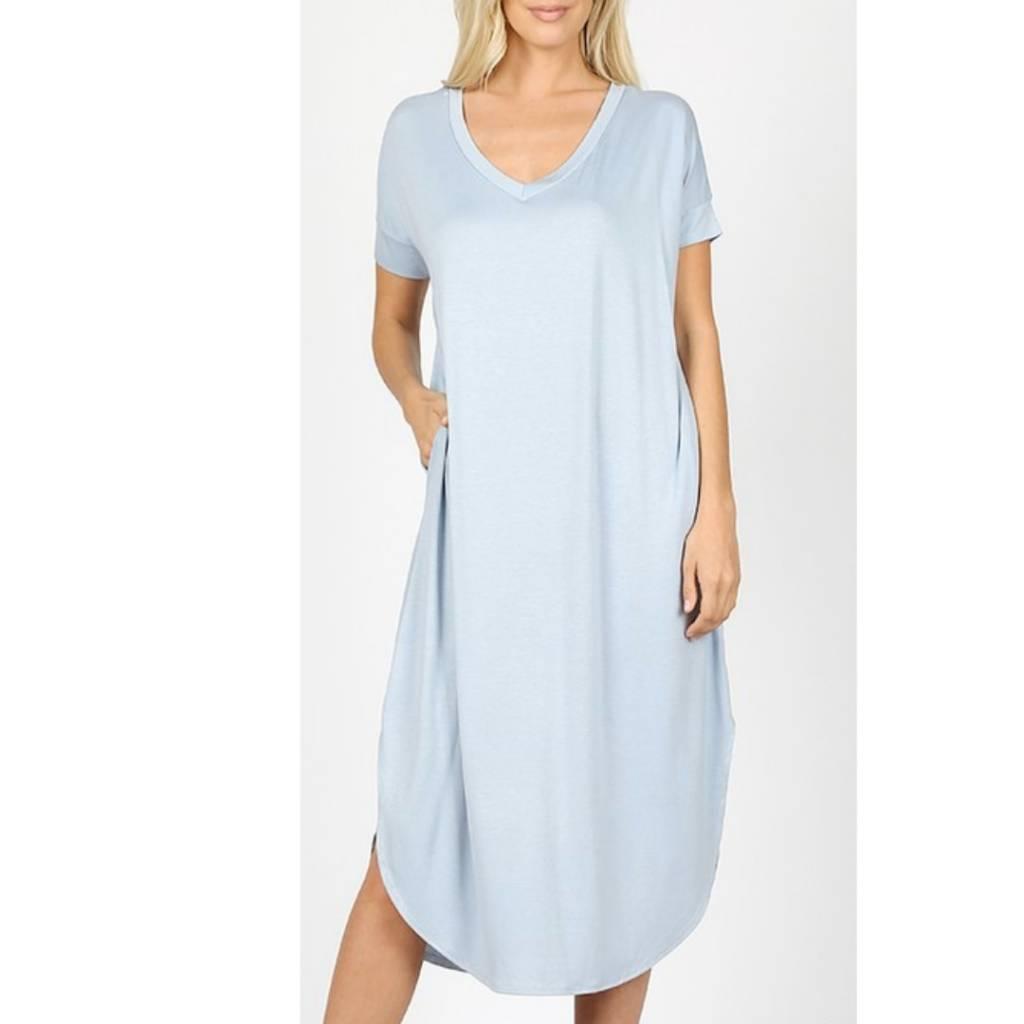Tell The World Short Sleeve Dress W/Pockets - Ash Blue