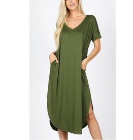 Tell The World Short Sleeve Dress W/Pockets - Army Green