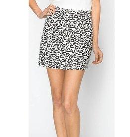 Wild Child Leopard Print Mini Skirt - White