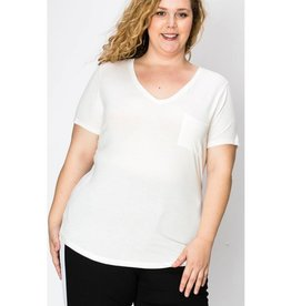 Wouldn't Change It V-Neck Top With Pocket - Off White