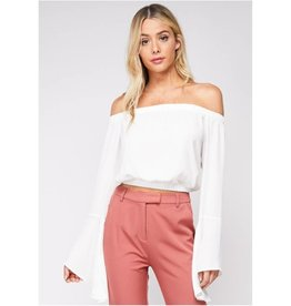 Let's Stop Time Off The Shoulder Bell Sleeve Top - Ivory