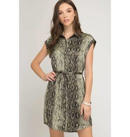 Wild For You Snake Print Dress - Olive