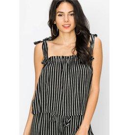 Summertime Sass Striped Top - Black