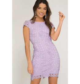 Make You Blush Cap Sleeve Lace Dress - Lilac