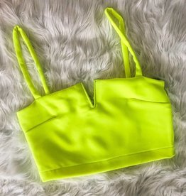 Hard To Miss Crop with Zipper - Neon Yellow