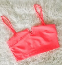 Hard To Miss Crop with Zipper - Neon Pink