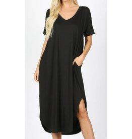 Tell The World Short Sleeve Dress W/Pockets - Black