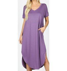 Tell The World Short Sleeve Dress W/Pockets - Lilac Grey
