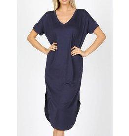 Tell The World Short Sleeve Dress W/Pockets - Navy