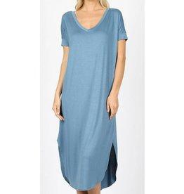 Tell The World Short Sleeve Dress W/Pockets - Titanium
