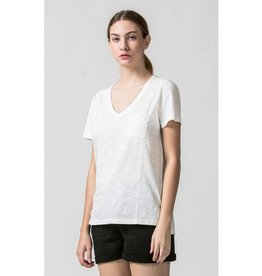 Day by Day V-Neck Top with Pocket- Off White