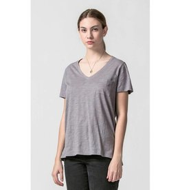 Day by Day V-Neck Top with Pocket- Smoke Gray