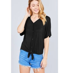 It's Simple V-Neck Top with Button - Black