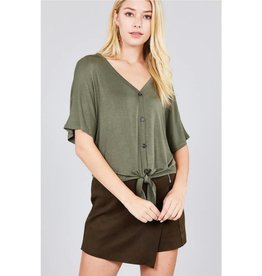 It's Simple V-Neck Top with Button - Olive