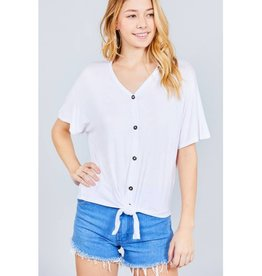 It's Simple V-Neck Top with Button - Off White