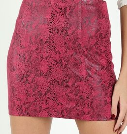 Just Let it Be Faux Snake Mini Skirt- Hot Pink