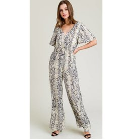 Slither On Over Snake Print Jumpsuit - Taupe Mix