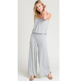 Just In Time Spaghetti Strap Jumpsuit - Heather Grey