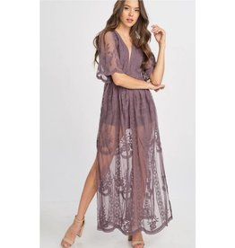 Taken To Heart Lace Maxi Dress - Midnight