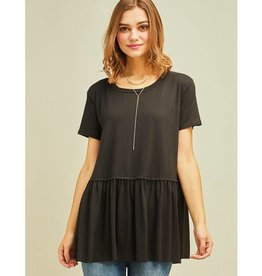 Gets Me Going Solid Scoop Neck Top - Black