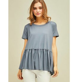Gets Me Going Solid Scoop Neck Top - Charcoal