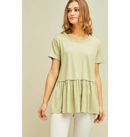 Gets Me Going Solid Scoop Neck Top - Light Sage