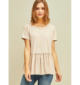 Gets Me Going Solid Scoop Neck Top - Sand