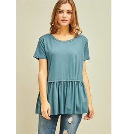 Gets Me Going Solid Scoop Neck Top - Slate