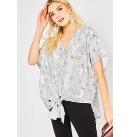 Profound Petals Asymmetrical Floral Print Top - Off White