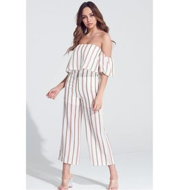 Hello There Striped Off the Shoulder Jumpsuit W/ Pockets - Mauve