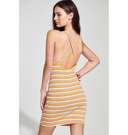 Georgia Sunset Multi Striped Halter Dress - Mustard/Red